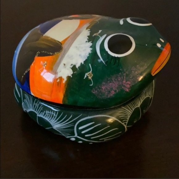 Mexican Hand Painted Ceramic Frog Trinket Box